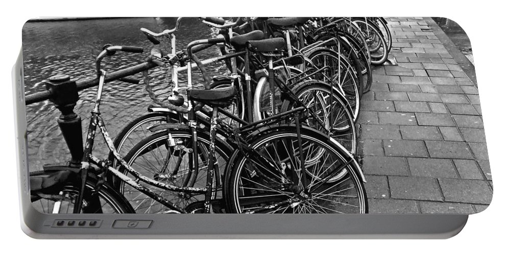 Amsterdam Portable Battery Charger featuring the photograph Bike Parking -- Amsterdam In November Bw by Mark Sellers