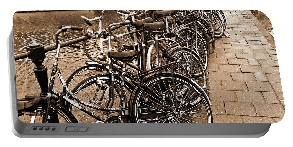 Amsterdam Portable Battery Charger featuring the photograph Bike Parking -- Amsterdam In November Sepia by Mark Sellers