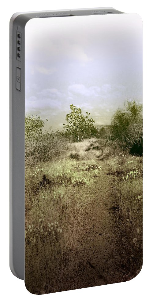 Landscape Portable Battery Charger featuring the photograph Bike Path Brown by Karen W Meyer