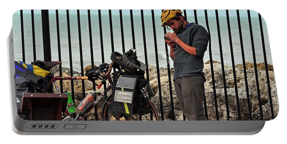 Key West Florida Portable Battery Charger featuring the photograph Biker Dude by Davids Digits