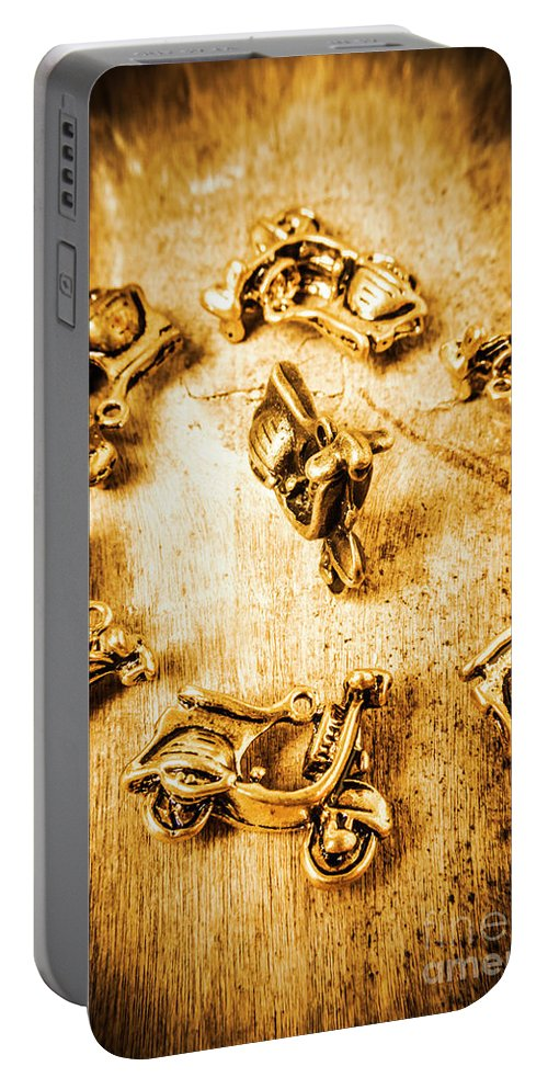 Vespa Portable Battery Charger featuring the photograph Bikes From Antique Italy by Jorgo Photography - Wall Art Gallery