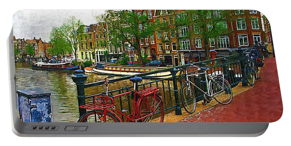 Bikes Portable Battery Charger featuring the photograph Bikes On The Bridge by Tom Reynen