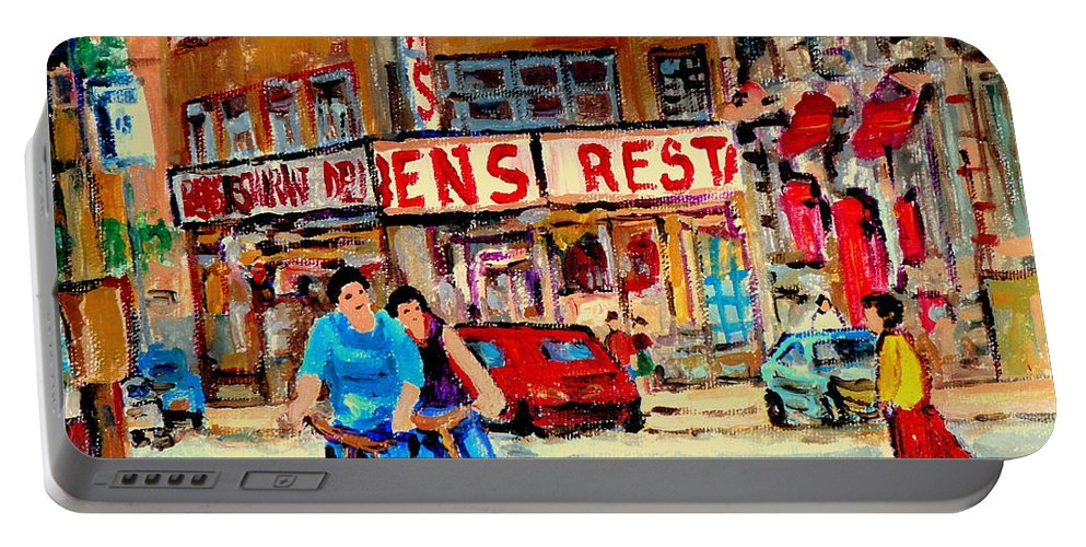 Montreal Portable Battery Charger featuring the painting Biking Past Ben by Carole Spandau
