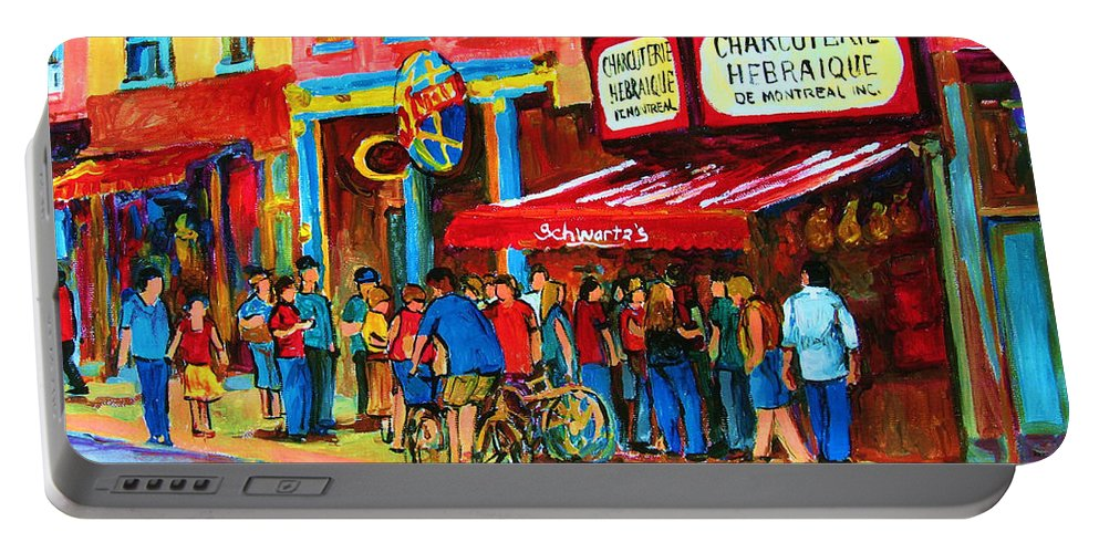 Schwartzs Smoked Meat Deli Portable Battery Charger featuring the painting Biking Past The Deli by Carole Spandau