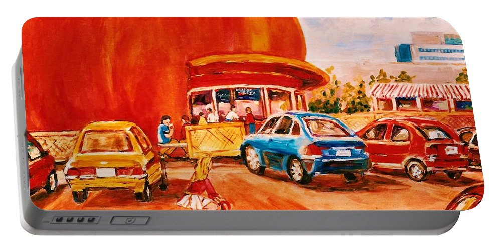 Cityscenes Portable Battery Charger featuring the painting Biking Past The Orange Julep by Carole Spandau