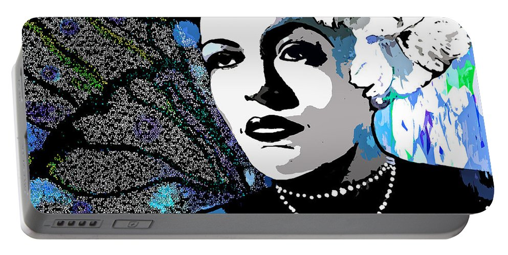 Billie Holiday Portable Battery Charger featuring the painting Billie Holiday by Saundra Myles