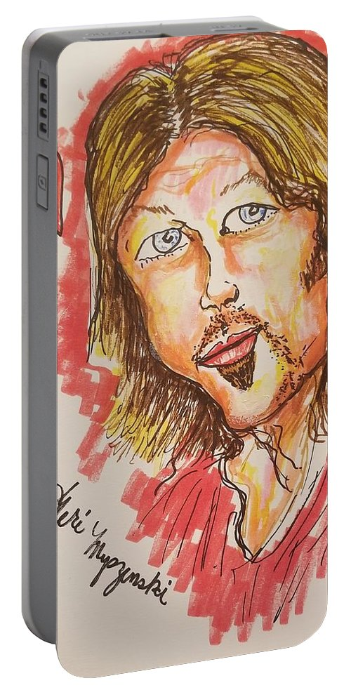 Billy Ray Cyrus Portable Battery Charger featuring the drawing Billy Ray Cyrus by Geraldine Myszenski