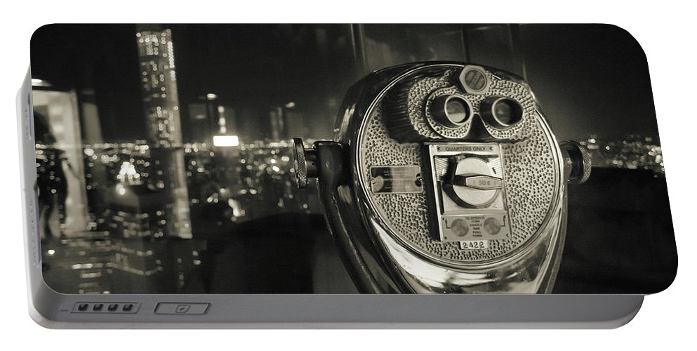 Retro Portable Battery Charger featuring the photograph Binocular In New York City, Image In Grunge And Retro Style. by Antonio Gravante