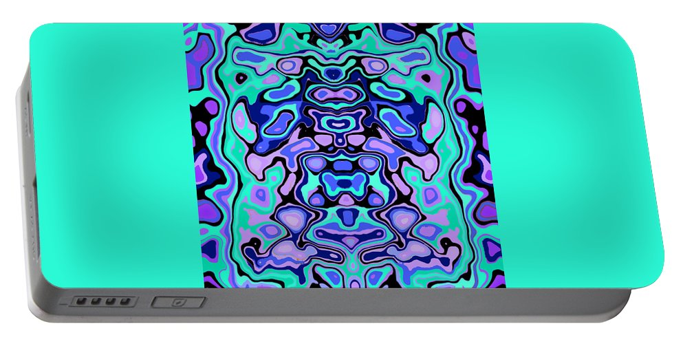 Turquoise Portable Battery Charger featuring the digital art Biomorphic #1 by Shannon Stancliff