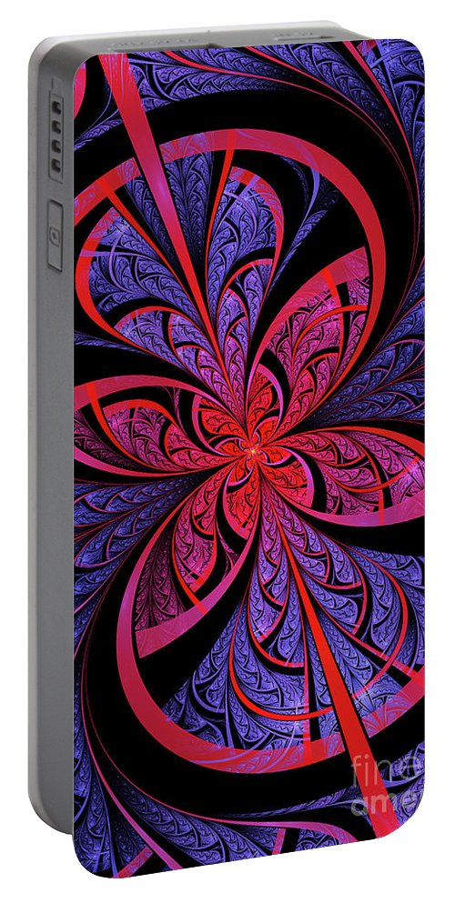 Flame Fractal Portable Battery Charger featuring the digital art Bipolar by John Edwards