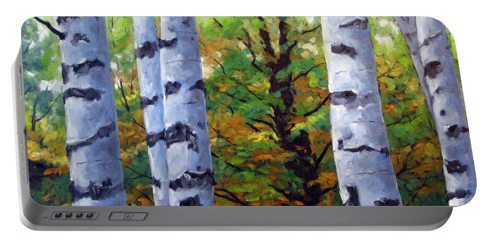 Art Portable Battery Charger featuring the painting Birch Buddies by Richard T Pranke