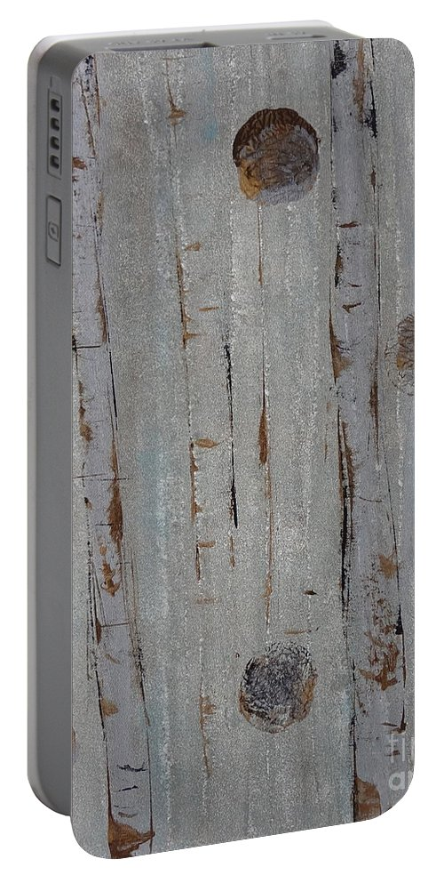 Land Portable Battery Charger featuring the painting Birch - Fog 2 by Jacqueline Athmann