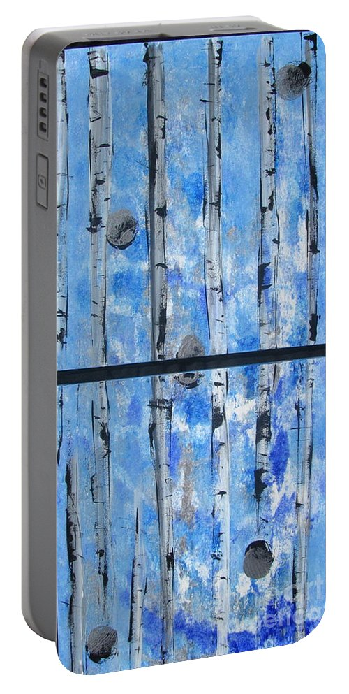 Land Portable Battery Charger featuring the painting Birch Trees - Blue by Jacqueline Athmann