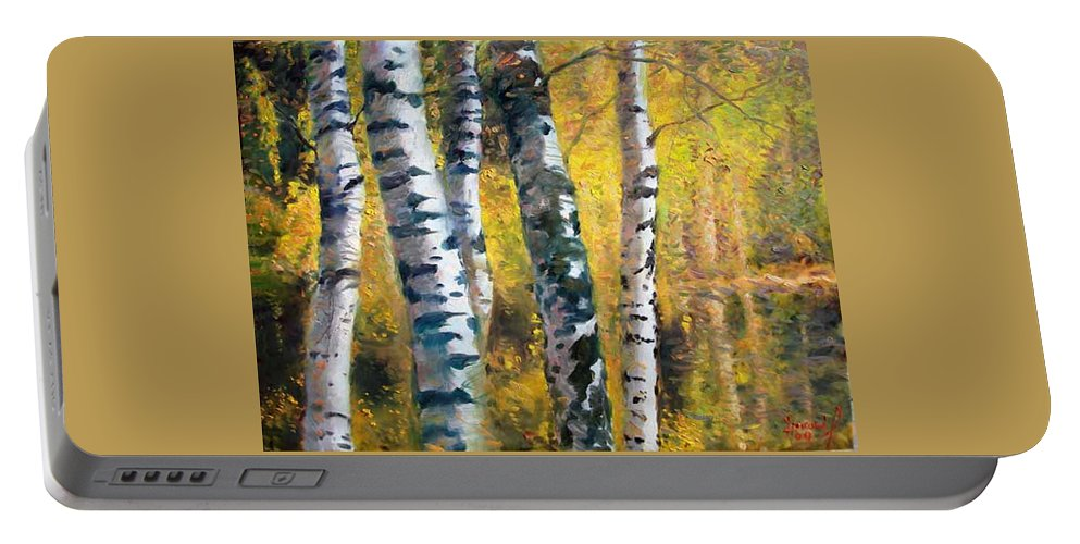Landscape Portable Battery Charger featuring the painting Birch Trees In Golden Fall by Ylli Haruni