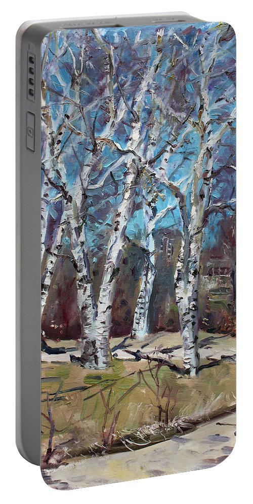 Landscape Portable Battery Charger featuring the painting Birch Trees Next Door by Ylli Haruni