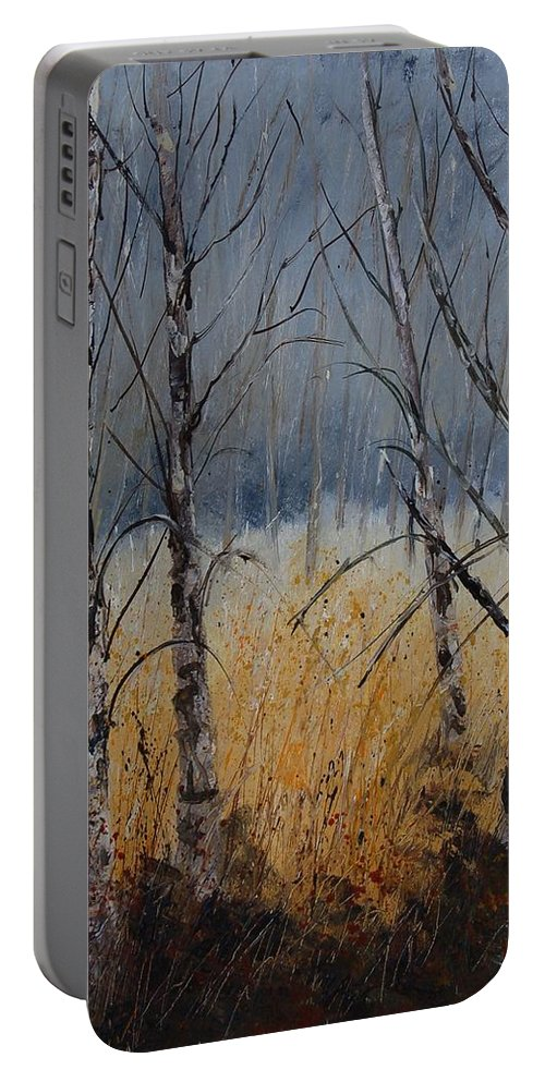 Winter Portable Battery Charger featuring the painting Birch Trees by Pol Ledent