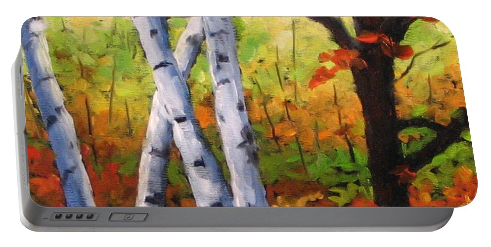 Art Portable Battery Charger featuring the painting Birches 05 by Richard T Pranke
