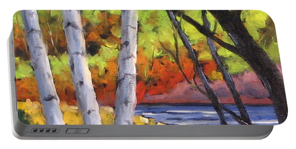 Art Portable Battery Charger featuring the painting Birches 06 by Richard T Pranke