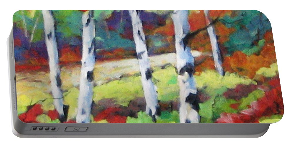 Art Portable Battery Charger featuring the painting Birches 07 by Richard T Pranke