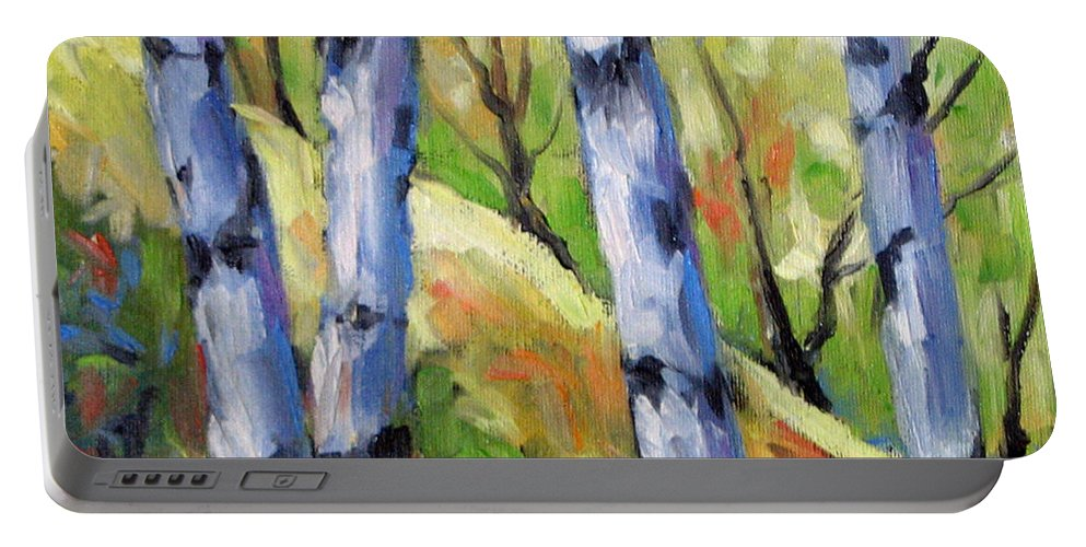 Art Portable Battery Charger featuring the painting Birches 09 by Richard T Pranke