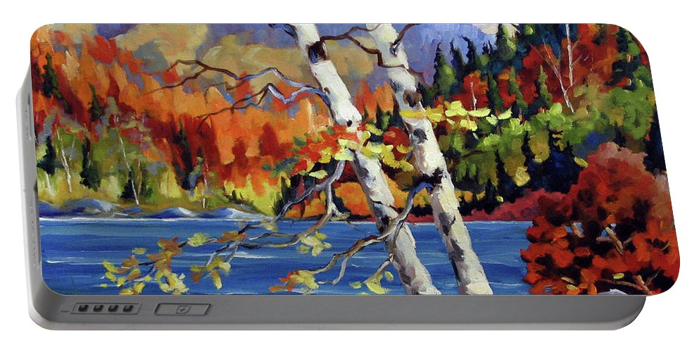 Art Portable Battery Charger featuring the painting Birches By The Lake by Richard T Pranke