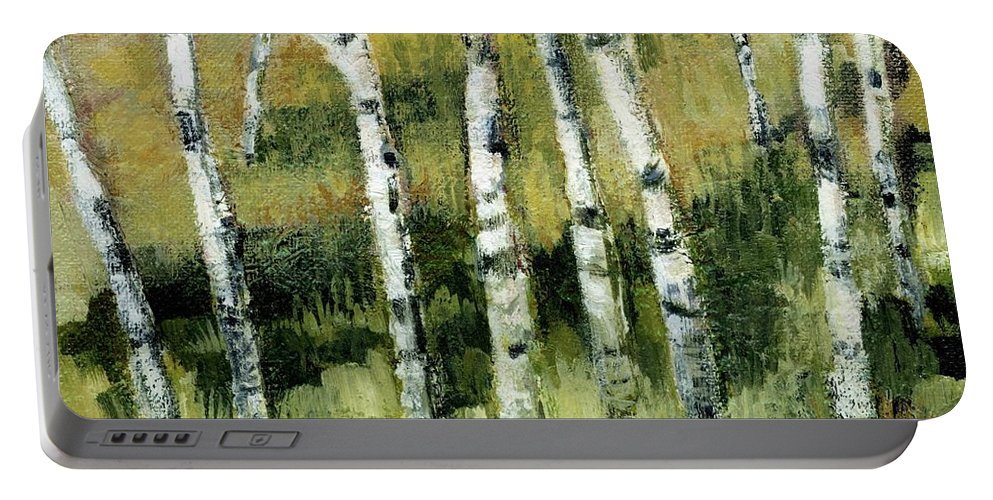 Trees Portable Battery Charger featuring the painting Birches On A Hill by Michelle Calkins