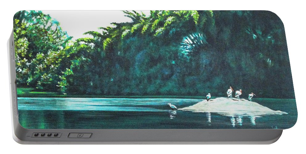 Birds Portable Battery Charger featuring the painting Bird Haven by Usha Shantharam