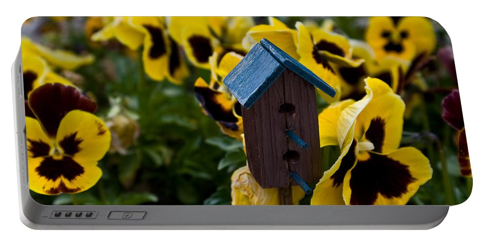 Pansy Portable Battery Charger featuring the photograph Bird House And Pansey by Douglas Barnett