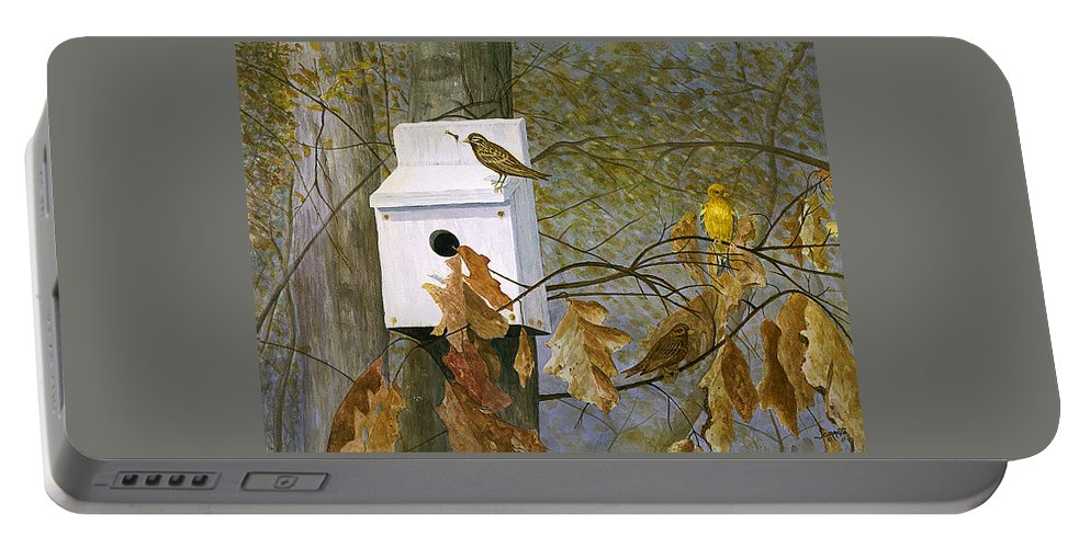 Portable Battery Charger featuring the painting Bird House In Fall by Tony Scarmato
