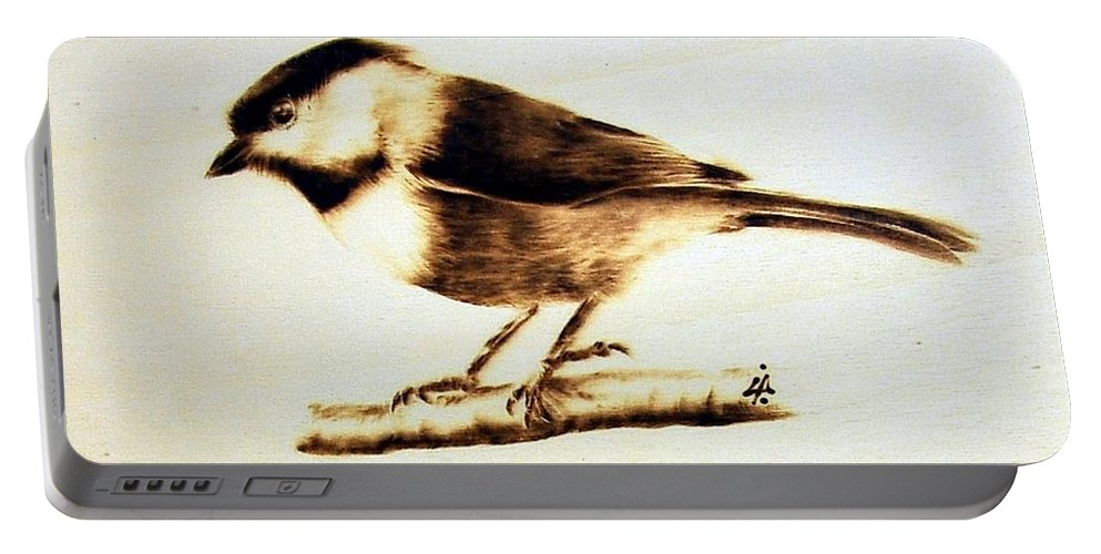 Wood Portable Battery Charger featuring the pyrography Bird by Ilaria Andreucci