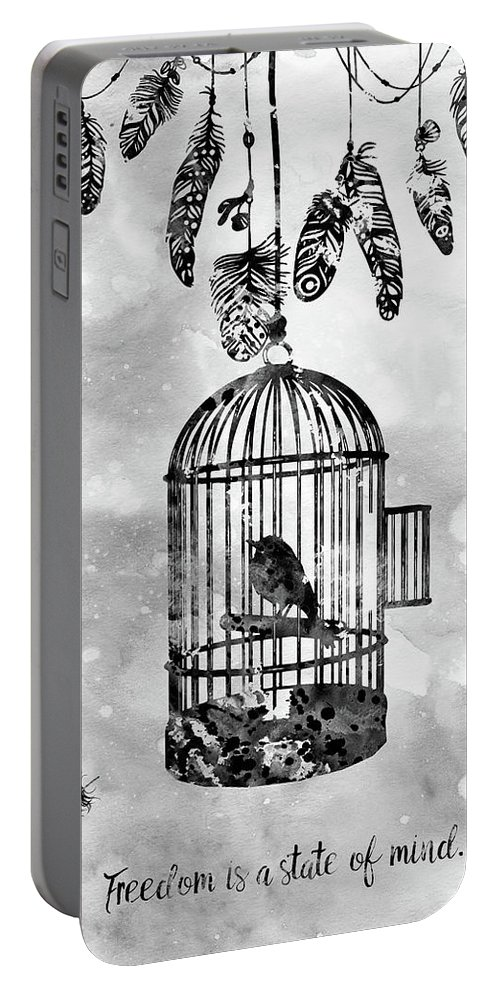 Bird In A Cage With Feathers Portable Battery Charger featuring the digital art Bird In A Cage-black by Erzebet S
