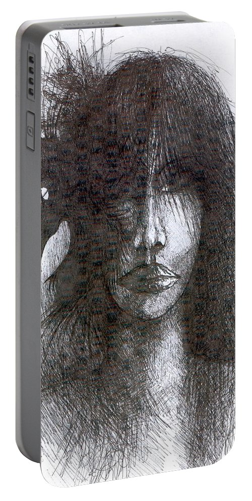 Psychedelic Portable Battery Charger featuring the drawing Bird In Hair by Wojtek Kowalski