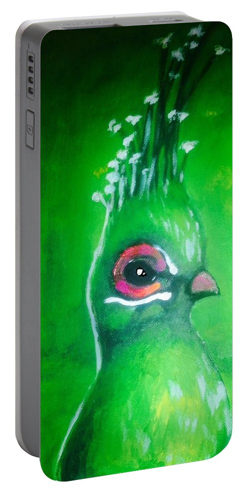 Portret Portable Battery Charger featuring the painting Bird by Katya Ivanovska