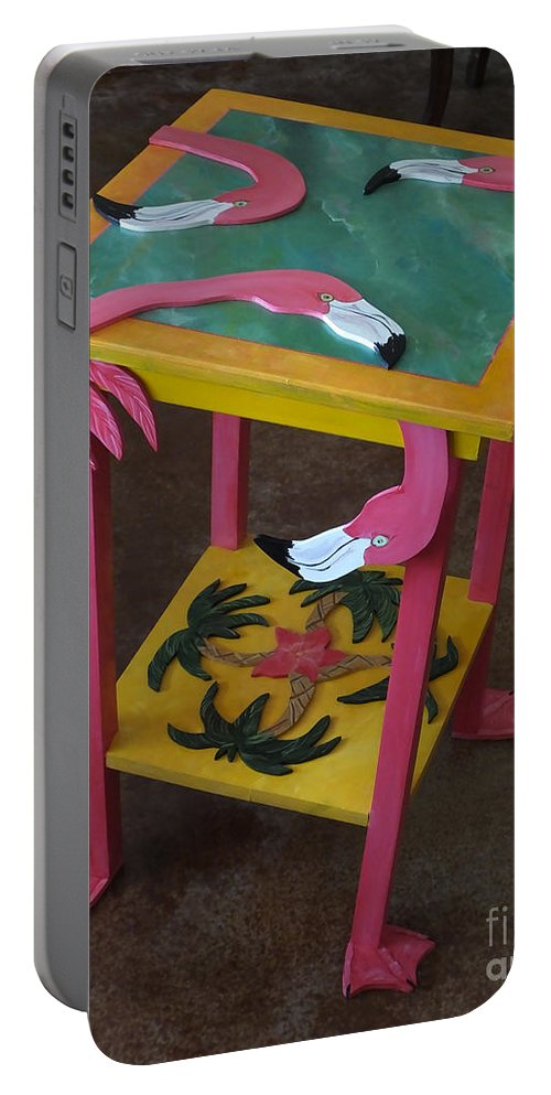 Table Portable Battery Charger featuring the mixed media Barefootin' Table by Lizi Beard-Ward