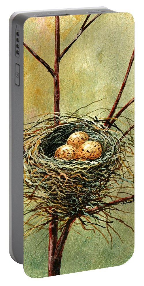 Still Life Portable Battery Charger featuring the painting Bird Nest by Frank Wilson