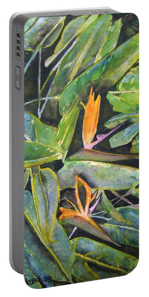 Flower Portable Battery Charger featuring the painting Bird Of Paradise 2 by Derek Mccrea