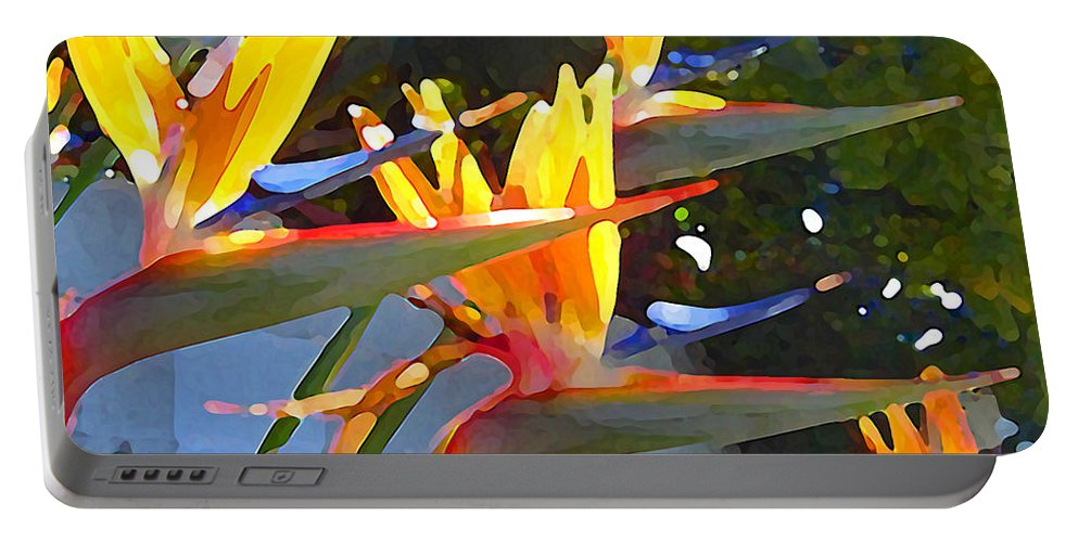 Abstract Portable Battery Charger featuring the painting Bird Of Paradise Backlit By Sun by Amy Vangsgard