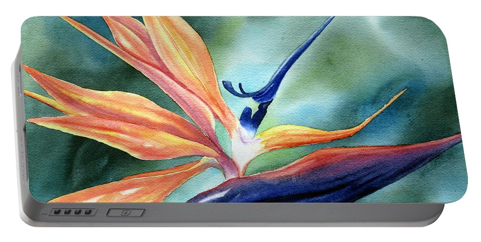 Bird Of Paradise Portable Battery Charger featuring the painting Bird Of Paradise by Deborah Ronglien