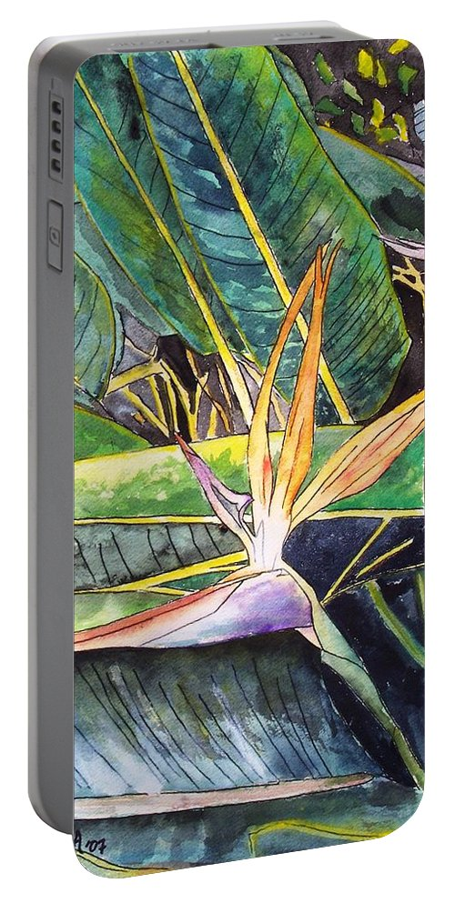 Watercolor Portable Battery Charger featuring the painting Bird Of Paradise by Derek Mccrea