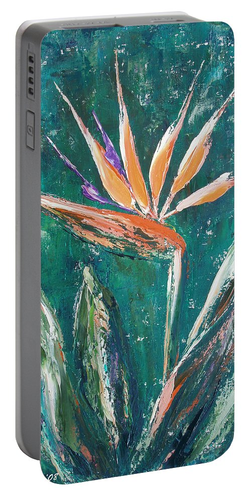 Bird Of Paradise Portable Battery Charger featuring the painting Bird Of Paradise by Gina De Gorna