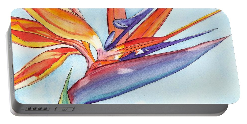 Bird Of Paradise Portable Battery Charger featuring the painting Bird Of Paradise IIi by Marionette Taboniar