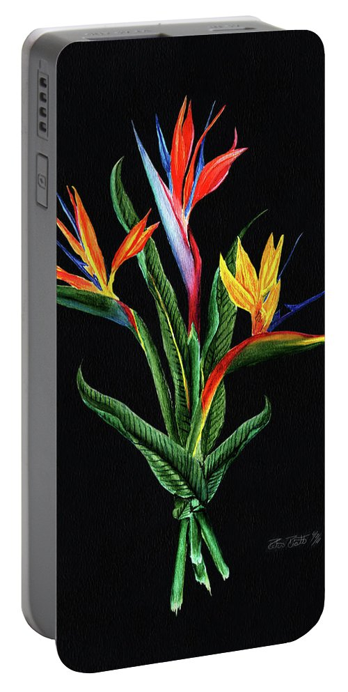 Bird Of Paradise Portable Battery Charger featuring the painting Bird Of Paradise In Black by Peter Piatt