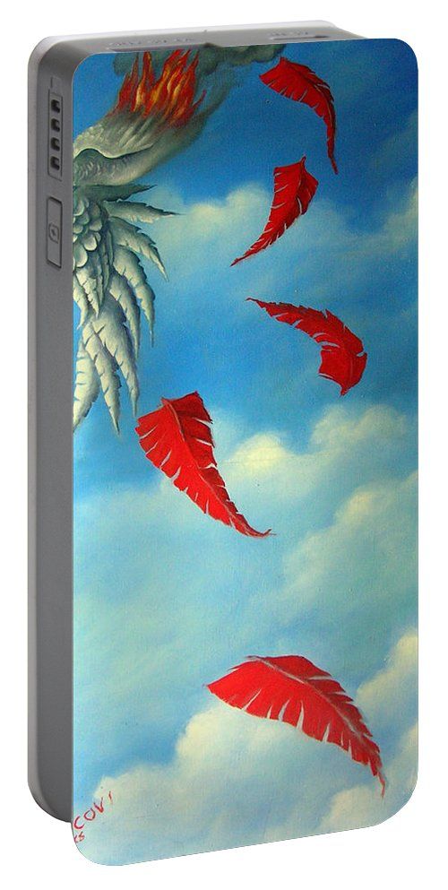 Surreal Portable Battery Charger featuring the painting Bird On Fire by Valerie Vescovi