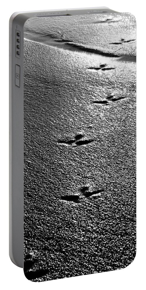 Sand Portable Battery Charger featuring the photograph Bird Prints In The Sand Black And White by Jill Reger