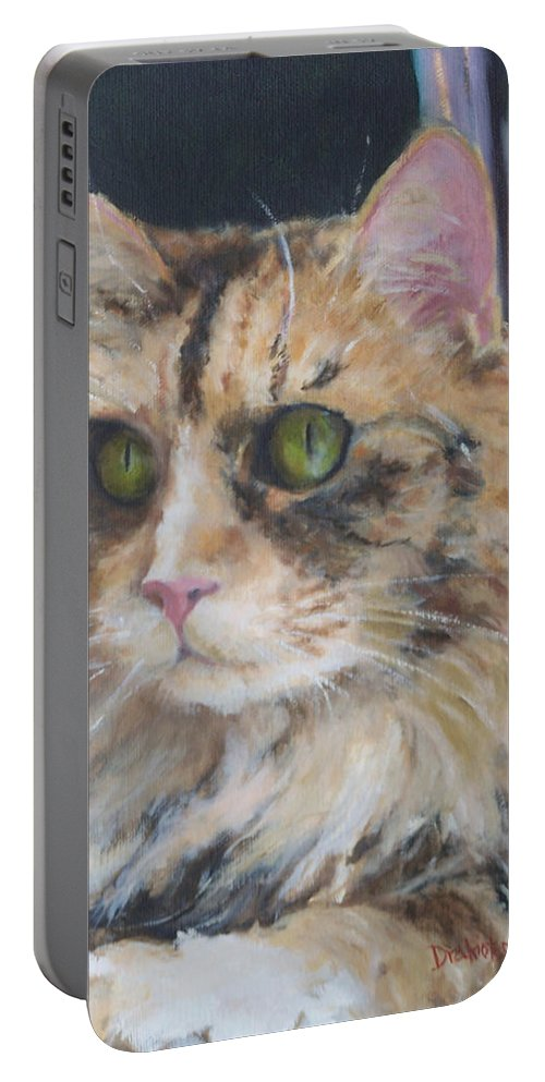 Feline Portable Battery Charger featuring the painting Bird Watching by Alicia Drakiotes