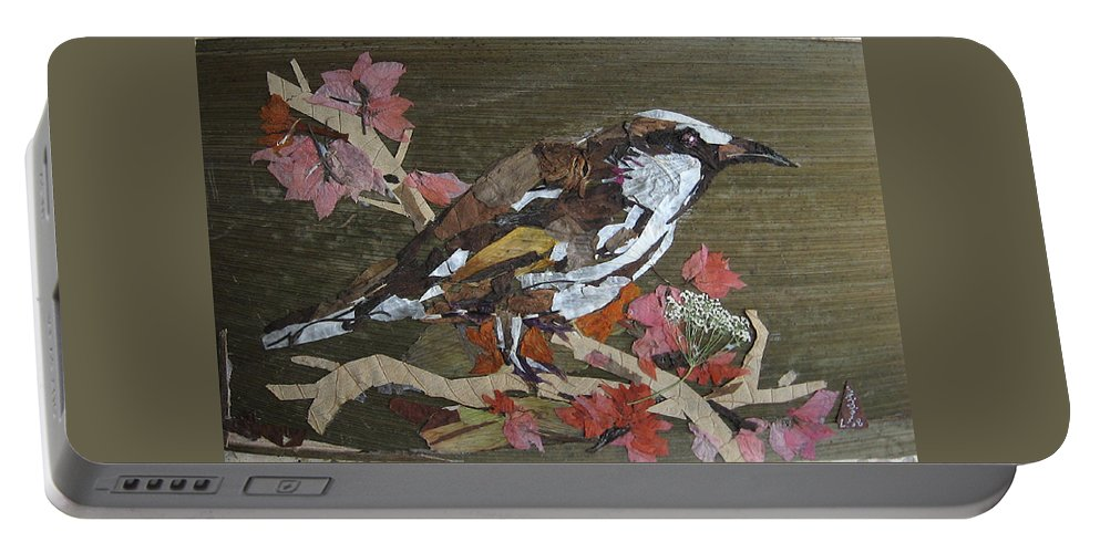 Bird Portable Battery Charger featuring the mixed media Bird White Eye by Basant Soni