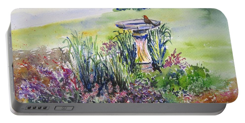 Bird Portable Battery Charger featuring the painting Birdbath by Corynne Hilbert