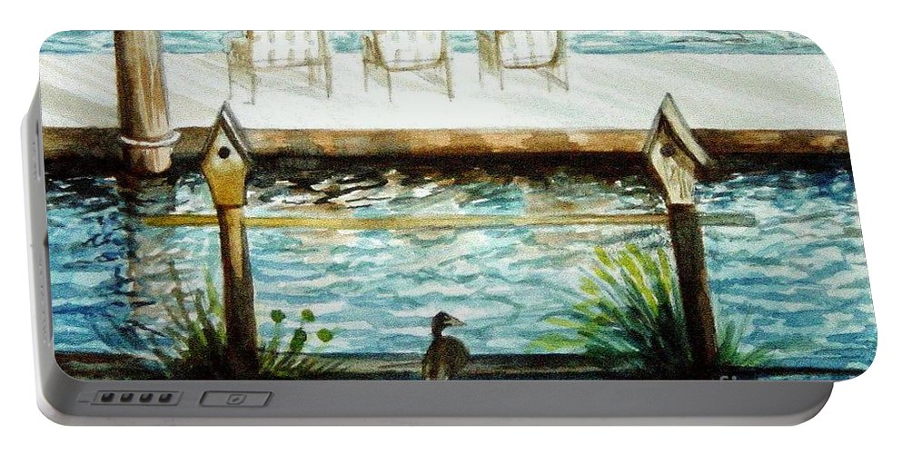 Birdhouse Portable Battery Charger featuring the painting Birdhouse Haven by Elizabeth Robinette Tyndall
