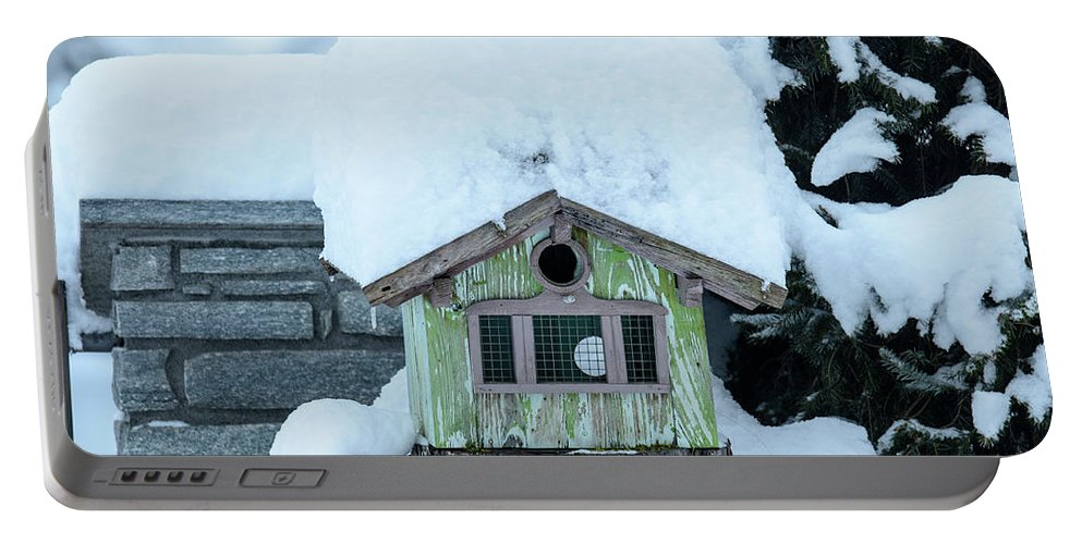 Winter Portable Battery Charger featuring the photograph Birdhouse by Nicola Simeoni