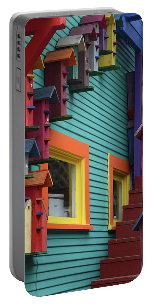 Birdhouse Portable Battery Charger featuring the photograph Birdhouses For Colorful Birds 3 by Bob Christopher